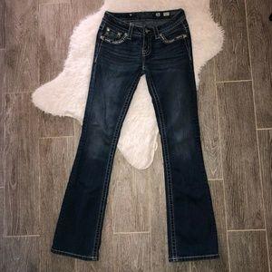 Miss Me Womens Boot Cut Jeans Blue Signature 26